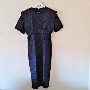 Jan Barboglio Vntg Navy Linen S/S Midi Dress &Cape